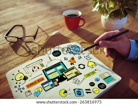 Businessman Responsive Design Content Idea Creativity Concept - stock photo