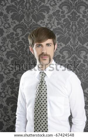 businessman retro mustache over gray wallpaper tie and shirt - stock photo