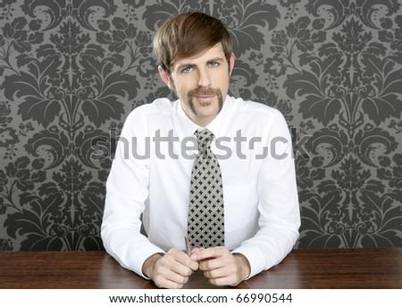 businessman retro on office table salesperson vintage wallpaper - stock photo