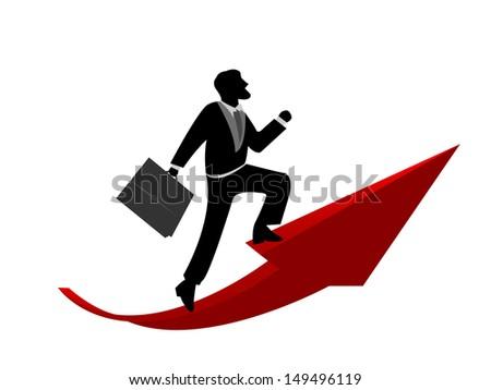 Businessman Ride The Red Arrow Pointing Up Direction For Business Concept Isolated on White Background  - stock photo