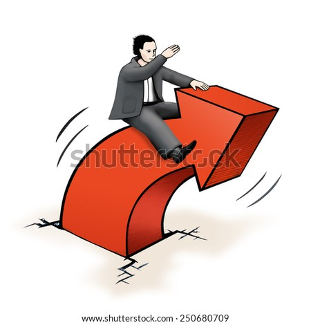 Businessman riding on dynamic arrow, concept drawing - stock photo