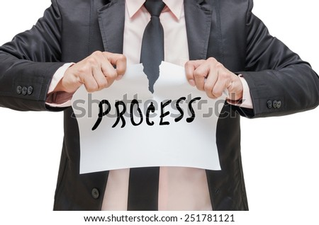Businessman ripping up the PROCESS sign on white background - stock photo