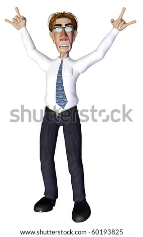 Businessman rock and roll - stock photo