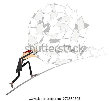 Businessman rolls up a big ball of papers   - stock photo