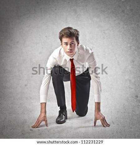 Businessman run competition - stock photo
