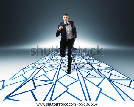businessman run on virtual message way - stock photo