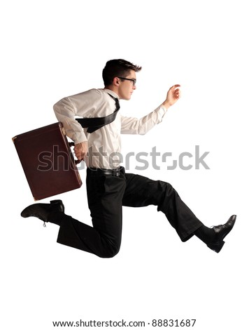 Businessman running fast - stock photo