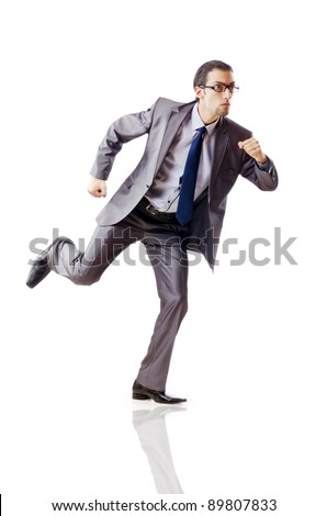 Businessman running for success - stock photo
