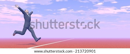 Businessman running happily to the finnishing line - 3D render