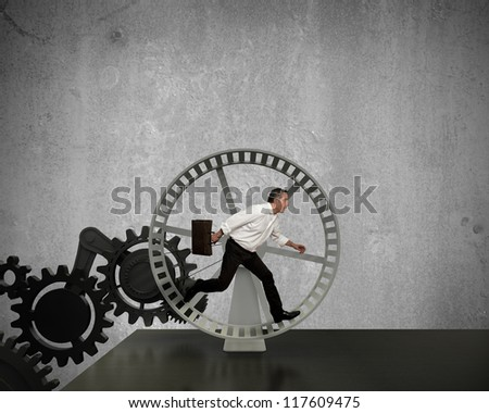 Businessman running in a business power generator - stock photo