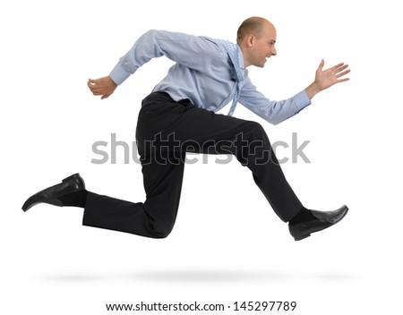 Businessman running isolated on white background - stock photo