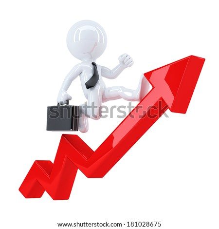 Businessman running on a red graph arrow. Isolated. Contains clipping path - stock photo