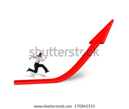 Businessman running on growing red arrow isolated in white background