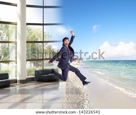 Businessman running on the beach. Summer vacation. - stock photo