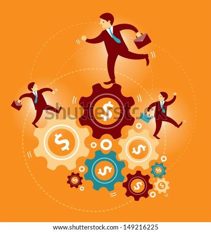 Businessman running on the money gear - stock photo