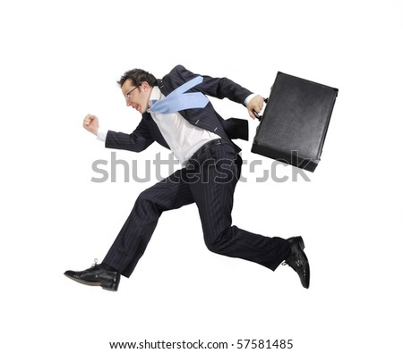 Businessman running on white background. - stock photo