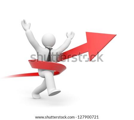 Businessman running to success - stock photo