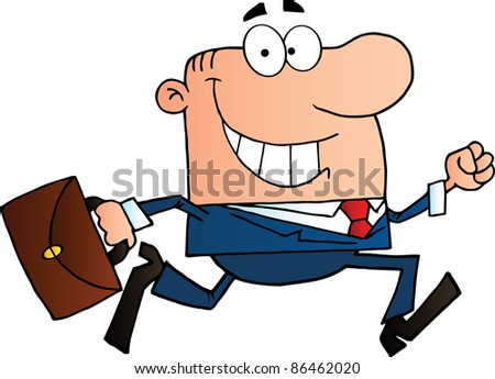 Businessman Running To Work With Briefcase - stock photo