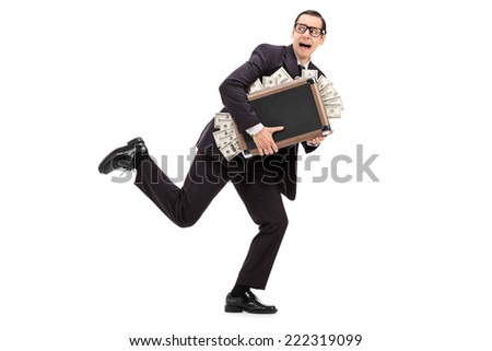 Businessman running with a bag full of money isolated on white background - stock photo
