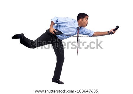 Businessman running with phone isolated in white - stock photo