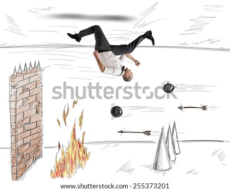 Businessman runs to overcome obstacles to work - stock photo
