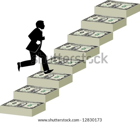 Businessman runs up a stairway made of money - stock photo