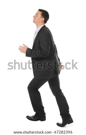 Businessman runs up the career ladder. Isolated on white background - stock photo