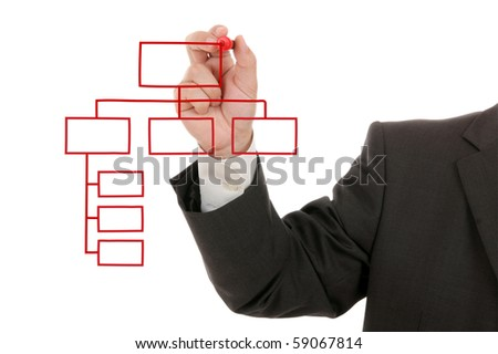 businessman's hand drawing an organization chart - stock photo