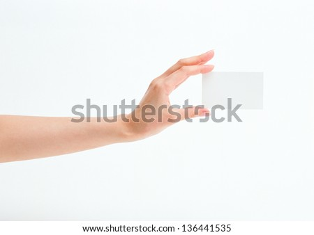 Businessman's hand holding blank paper - stock photo