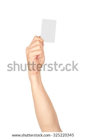 Businessman's hand holding blank paper business card, closeup is