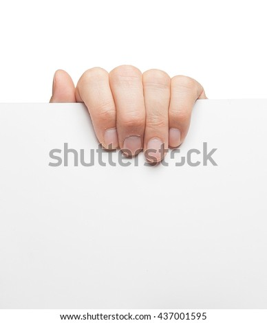 Businessman's hand holding blank paper business card, closeup isolated on white background. Advertising: Hand holding white empty paper