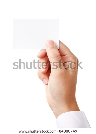Businessman's hand holding blank paper business card, closeup isolated on white background