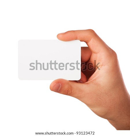 Businessman's hand holding blank paper business card, closeup isolated on white background - stock photo