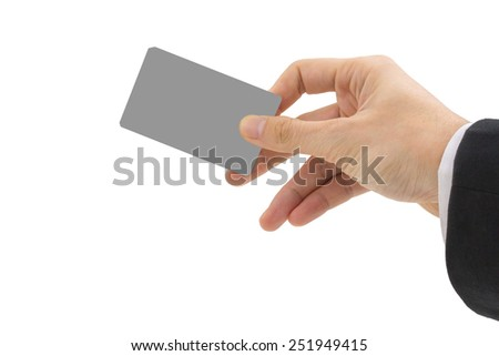 Businessman's hand holding blank paper business card on white background  - stock photo