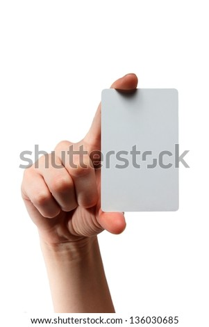 Businessman's hand holding blank plastic card, closeup isolated on white background - stock photo