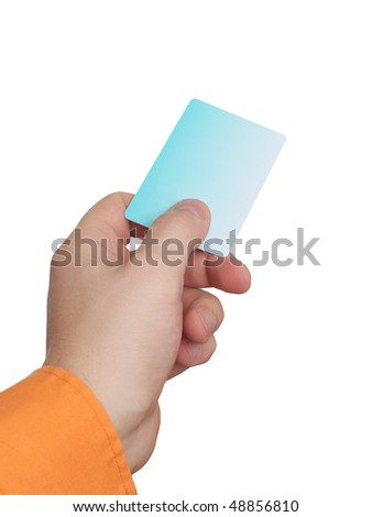 Businessman's hand holding blue credit card. Isolated on white background - stock photo
