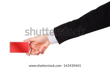 Businessman's hand holding business card isolated on white background