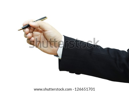 Businessman's Hand Holding Pen. Isolated on white background