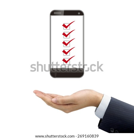 businessman's hand holding smartphone over white background