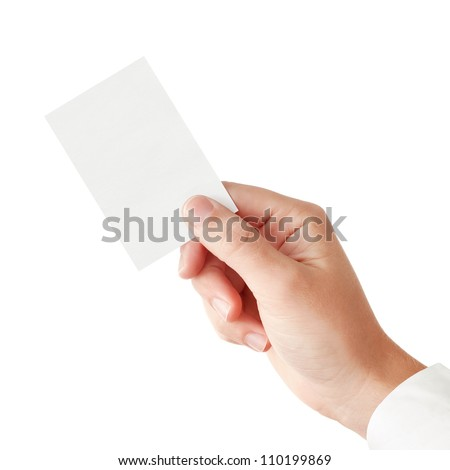 Businessman's hand in a pink shirt sleeve holding blank paper business card, closeup isolated over white background - stock photo
