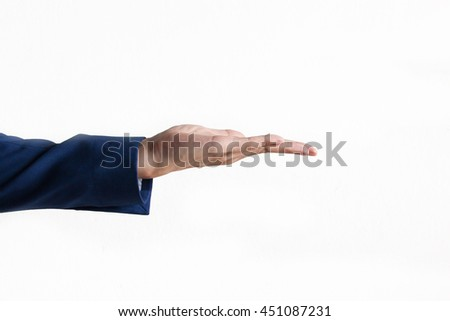 Businessman's hand on product presentation gesture in white isolated background - stock photo
