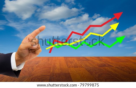 businessman's hand pointing at three colors line graph