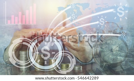Businessman 's hand protect pile of money coin and connect ,collaborate , success in capital finance around the world concept