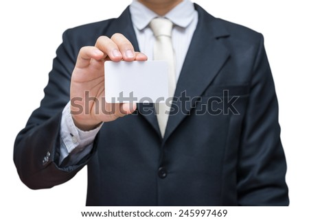 Businessman's hand showing business card isolated on white background - stock photo