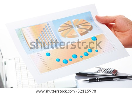 Businessman's hand showing graph on financial sells or popularity report with pen. - stock photo
