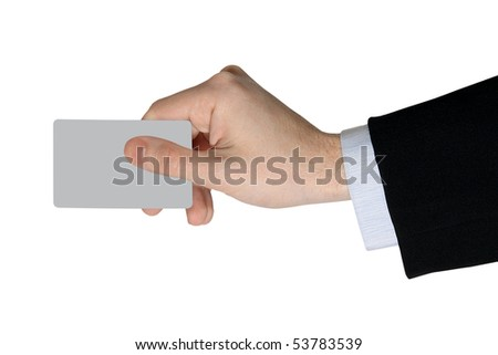 Businessman's Hand with blank credit Card isolated on white Background