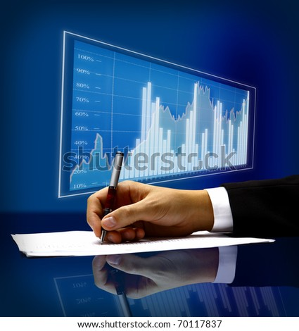 businessman's hand with pen - stock photo