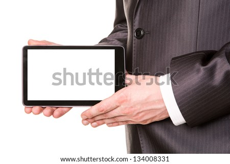 Businessman's hands showing a tablet pc comuter with blank screen for your sample text isolated on white - stock photo