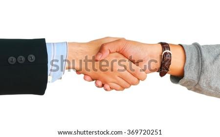 businessman's handshake on white background. - stock photo