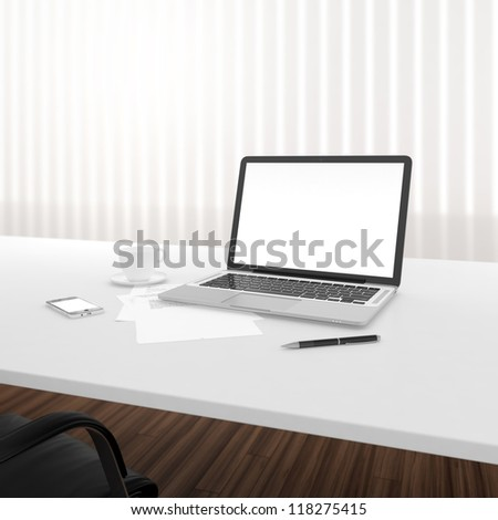 Businessman's place of work with laptop and smartphone on white table - stock photo